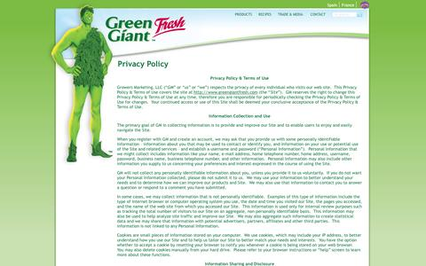 Screenshot of Privacy Page greengiantfresh.com - Privacy Policy | Green Giant Fresh US - captured Dec. 14, 2015