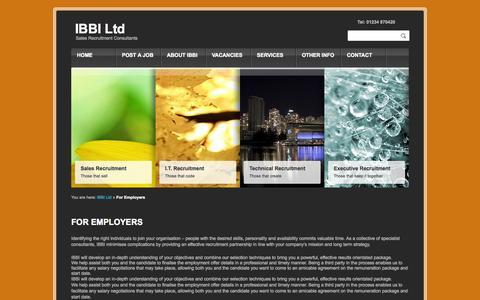 Screenshot of Services Page ibbi-ltd.co.uk - Employer Recruitment Page from IBBI LtdIBBI Ltd - captured Sept. 30, 2014