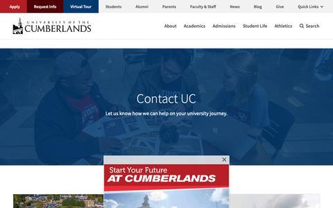Screenshot of Contact Page ucumberlands.edu - Contact Us | University of the Cumberlands - captured Nov. 12, 2018