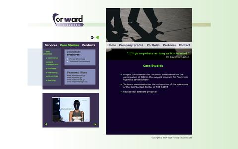 Screenshot of Case Studies Page forward-e.biz - Forward e-business - Case Studies - captured March 8, 2016