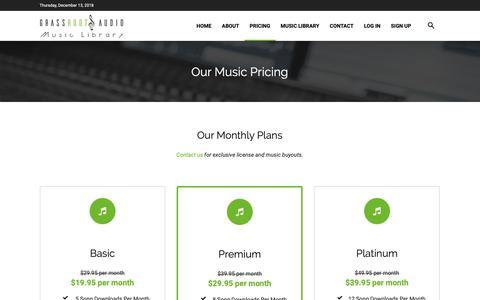 Screenshot of Pricing Page grassrootsaudio.com - Pricing - GrassRoots Audio - captured Dec. 13, 2018