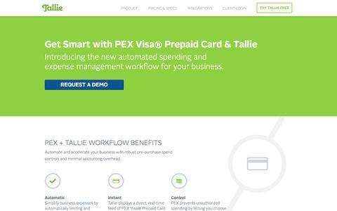 PEX Visa Prepaid Card & Tallie Smart Expense Management Workflow | Tallie