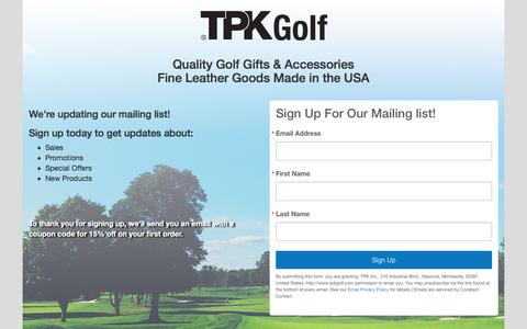 Screenshot of Signup Page tpkgolf.com - TPK Golf - Sign Up For Our Mailing List - captured Oct. 11, 2017