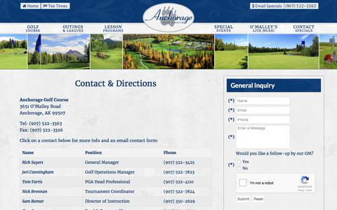 Screenshot of Contact Page Maps & Directions Page anchoragegolfcourse.com - Anchorage Golf Course | Public Championship Golf Club - Contact & Directions - captured Oct. 8, 2017