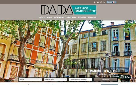 Screenshot of Home Page agence-dada.com - Tout l'immobilier à Ceret avec Agence Dada - captured March 23, 2017