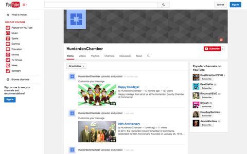 Screenshot of YouTube Page youtube.com - HunterdonChamber  - YouTube - captured Oct. 23, 2014