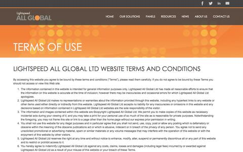Screenshot of Terms Page allglobal.com - Terms of Use - Lightspeed AG - captured Oct. 29, 2014