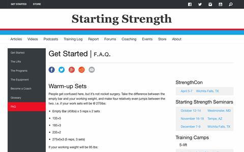 Screenshot of FAQ Page startingstrength.com - Starting Strength FAQ - captured Sept. 23, 2018