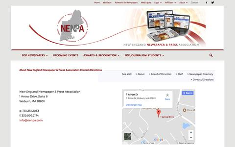 Screenshot of Contact Page Maps & Directions Page nenpa.com - Contact/Directions | NENPA - captured Oct. 20, 2017