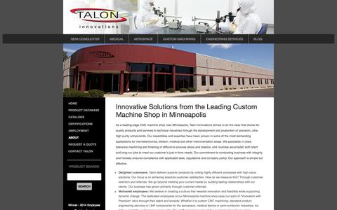 Screenshot of About Page taloneng.com - Talon Innovations Machine Shop near Minneapolis for Precision Machined Products - captured Oct. 27, 2014