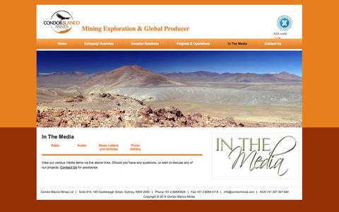 Screenshot of Press Page condormines.com - In The Media | Mining Exploration & Global Producer - captured Oct. 3, 2014