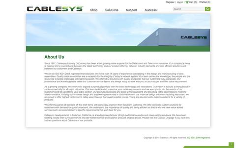 Screenshot of About Page cablesys.com - About Us   CableSys   Copper Patch Cords, Fiber Optic Jumpers, and Custom Cable Assemblies for Data Centers and Systems Integrators   Cablesys - captured Sept. 26, 2014