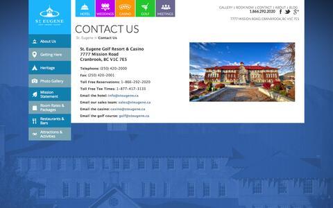 Screenshot of Contact Page steugene.ca - Contact Us | St. Eugene Golf Resort & Casino | St. Eugene - captured Nov. 4, 2014