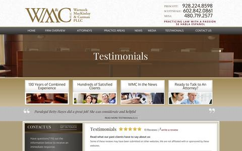 Screenshot of Testimonials Page lawwmc.com - Testimonials | Prescott, Mesa & Scottsdale Attorneys - captured Oct. 27, 2014