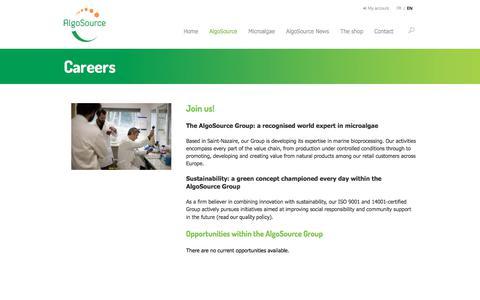 Screenshot of Jobs Page algosource.com - Careers - AlgoSource Group - captured Feb. 25, 2018
