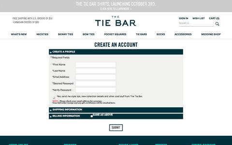 Screenshot of Signup Page thetiebar.com - Create a profile with The Tie Bar - captured Sept. 15, 2016