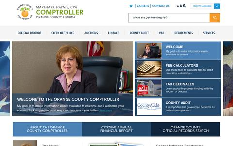 Screenshot of Home Page occompt.com - Home - Orange County Comptroller - captured Aug. 9, 2015