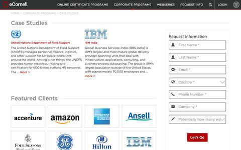 Screenshot of Case Studies Page ecornell.com - Clients & Case Studies   eCornell - captured July 24, 2018
