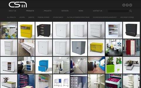 Screenshot of Products Page csm-office.com.au - Storage Solutions, Office Storage, Storage Cabinets, Garden Walls - captured Oct. 1, 2014