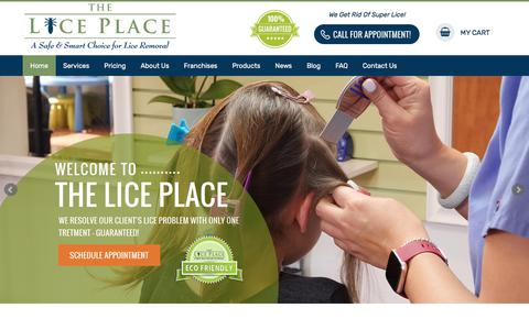 Screenshot of Home Page theliceplace.com - Lice Removal & Treatment Services | The Lice Place - captured Sept. 7, 2019