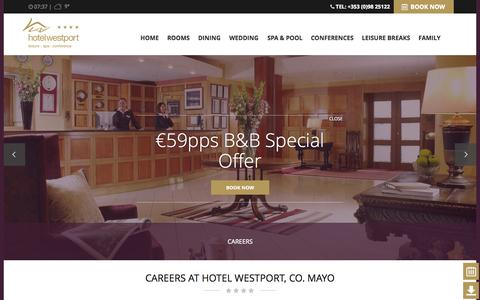 Screenshot of Jobs Page hotelwestport.ie captured Sept. 24, 2014