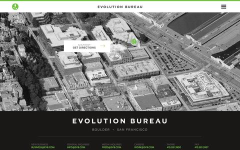 Screenshot of Contact Page evb.com - Evolution Bureau | We are your brand's best kept secret. | Contact - captured Sept. 22, 2014