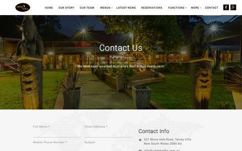 Screenshot of Contact Page urbantadka.com.au - Contact Us | Urban Tadka Contact Us, Terrey Hills, Sydney - captured Feb. 27, 2016
