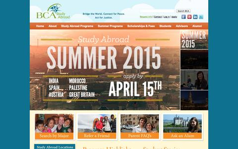 Screenshot of Home Page bcaabroad.org - Home | BCA - Study Abroad - captured Jan. 27, 2015