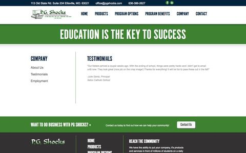 Screenshot of Testimonials Page pgshocks.com - Testimonials | PG Shocks - captured Sept. 26, 2014
