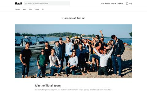 Screenshot of Jobs Page tictail.com - Careers at Tictail • Tictail - captured July 14, 2017