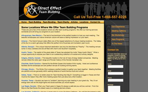 Screenshot of Locations Page adirecteffect.com - Team Building Programs Around the World - captured Oct. 10, 2014