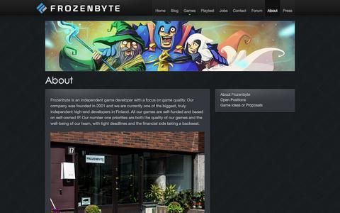 Screenshot of About Page frozenbyte.com - About | Frozenbyte - captured Feb. 10, 2016