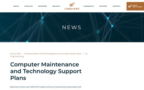 Screenshot of Press Page loquient.com - News Archives - Loquient Technology Services - captured Sept. 30, 2018