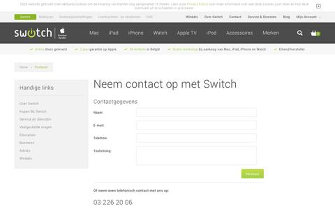Screenshot of Contact Page switch.be - Mail ons - captured June 29, 2017