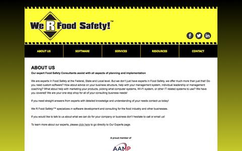 Screenshot of About Page werfoodsafety.com - We R Food Safety! - Food Safety Software, Electronic HAACP Plans, Food Safety Consulting, Food Safety Training - captured Aug. 11, 2016