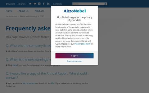 Screenshot of FAQ Page akzonobel.com - Frequently asked questions | AkzoNobel - captured Dec. 12, 2018