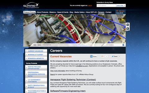 Screenshot of Jobs Page sst-us.com - Careers | Rewarding Space Jobs with Surrey Satellite Technology (SST-US) - captured Oct. 7, 2014