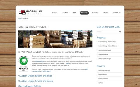 Screenshot of Products Page pacepalletservices.com.au - Pace Pallets Product Range | pacepalletservices.com.au - captured Sept. 27, 2014