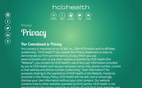 Screenshot of Privacy Page hcbhealth.com - Privacy  |  HCB Health - captured Sept. 26, 2014