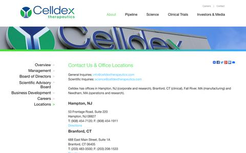 Screenshot of Locations Page celldex.com - Locations | About | Celldex Therapeutics - captured Oct. 1, 2014