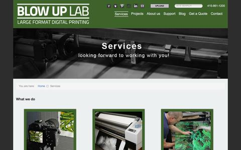 Screenshot of Services Page blowuplab.com - Services - Blow Up Lab - captured Jan. 6, 2016