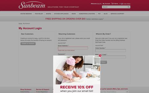Screenshot of Login Page sunbeam.com - My Account - Sunbeam - captured Aug. 28, 2016