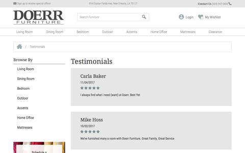 Screenshot of Testimonials Page doerrfurniture.com - Testimonials - Doerr Furniture Doerr Furniture Store - captured June 4, 2017
