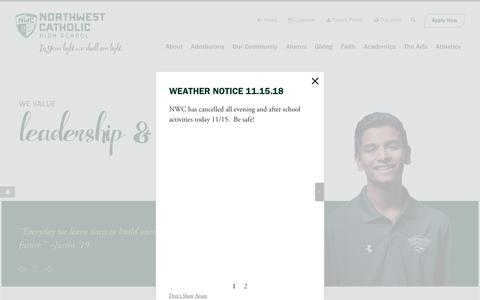 Screenshot of Home Page northwestcatholic.org - Home - Northwest Catholic High School - captured Nov. 16, 2018