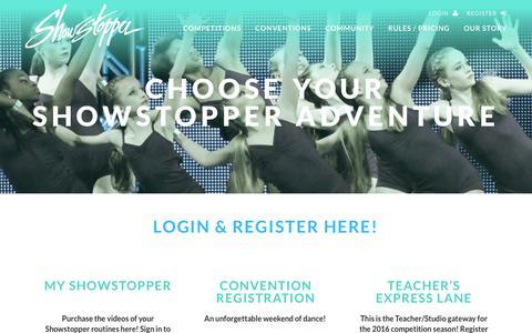Screenshot of Login Page goshowstopper.com - Register �  Showstopper - captured Jan. 19, 2016