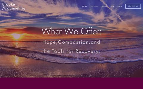 Screenshot of Services Page brookecounseling.com - Services — Brooke /Counseling - captured June 3, 2017