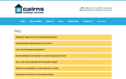 Screenshot of FAQ Page cairnsholidayhomes.com.au - FAQ - Cairns Holiday Homes - captured Dec. 7, 2018