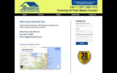 Screenshot of Contact Page jdroofinginc.com - Contact Us - captured Sept. 30, 2014