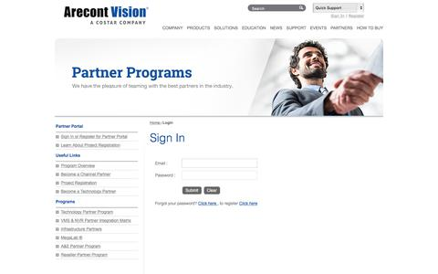 Screenshot of Login Page arecontvision.com captured July 14, 2019