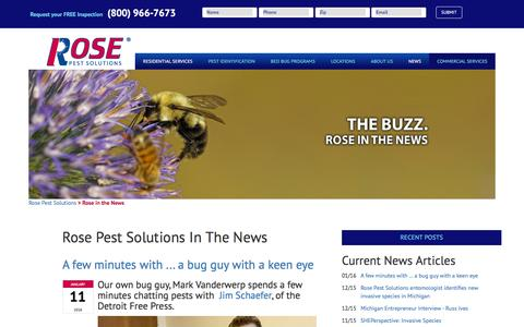 Screenshot of Press Page rosepestsolutions.com - Rose in the News - captured Jan. 11, 2016